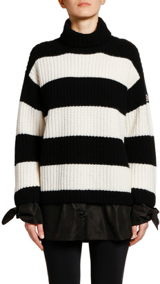 Moncler Striped Colorblock Knit Sweater w/ Tie Cuffs