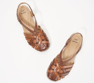 Earth Origins Leather Cross-Strap Sandals - Belle Brielle