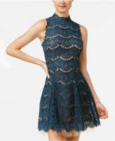 Trixxi Juniors' Lace Mock-Neck Dress