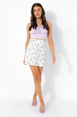 boohoo Satin Butterfly Print Mini Skirt