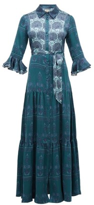 Beulah - Nalini Peacock-print Silk Shirtdress - Womens - Green Multi