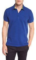 Etro Paisley-Trim Short-Sleeve Polo Shirt, Blue