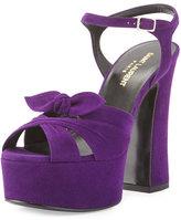 Saint Laurent Candy Suede Platform Sandal, Dark Violet