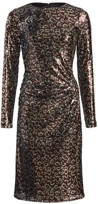 Teri Jon By Rickie Freeman Sequin Leopard Print Sheath Dress
