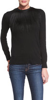 ADAM by Adam Lippes Long-Sleeve Fringed Crewneck Sweater, Black