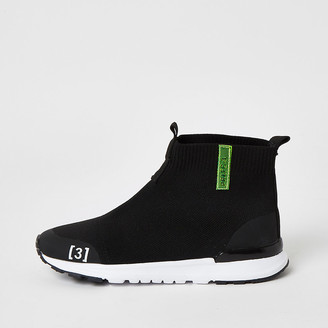 River Island Boys black high top knitted trainers