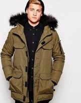 Bellfield Parka With Faux Fur Hood - Green
