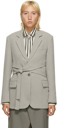 3.1 Phillip Lim Grey Heavy Cady Wrap Blazer