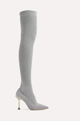 Miu Miu Crystal-embellished Metallic Ribbed-knit Over-the-knee Sock Boots - Silver