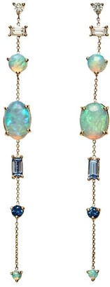 WWAKE 14kt Yellow Gold Multi Gemstone Chain Earrings