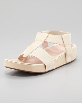 Taryn Rose Adam Elastic Leather Thong Sandal, Nude