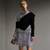 Burberry One-shoulder Rib Knit Wool Cashmere Sweater