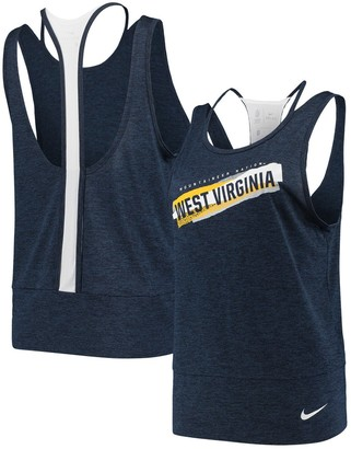 Nike Women's Navy/White West Virginia Mountaineers Loose Racerback Performance Tank Top