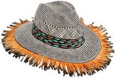 Etro Paper Woven Hat W/ Duck Feathers