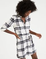 American Eagle Outfitters AE Plaid Tie-Waist Shirt Dress
