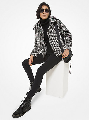Michael Kors Quilted Houndstooth Nylon Puffer Jacket
