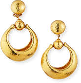 Jose & Maria Barrera Hammered Door-Knocker Clip Earrings