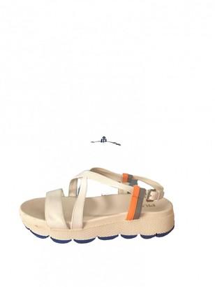 Prada White Leather Sandals