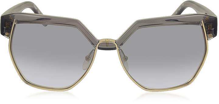 Chloé DAFNE CE 665S 036 Gray Acetate and Gold Metal Geometric Women's Sunglasses