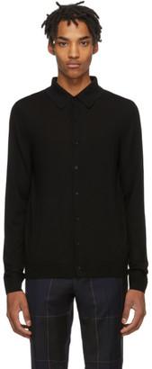 Paul Smith Black Merino Buttoned Long Sleeve Polo