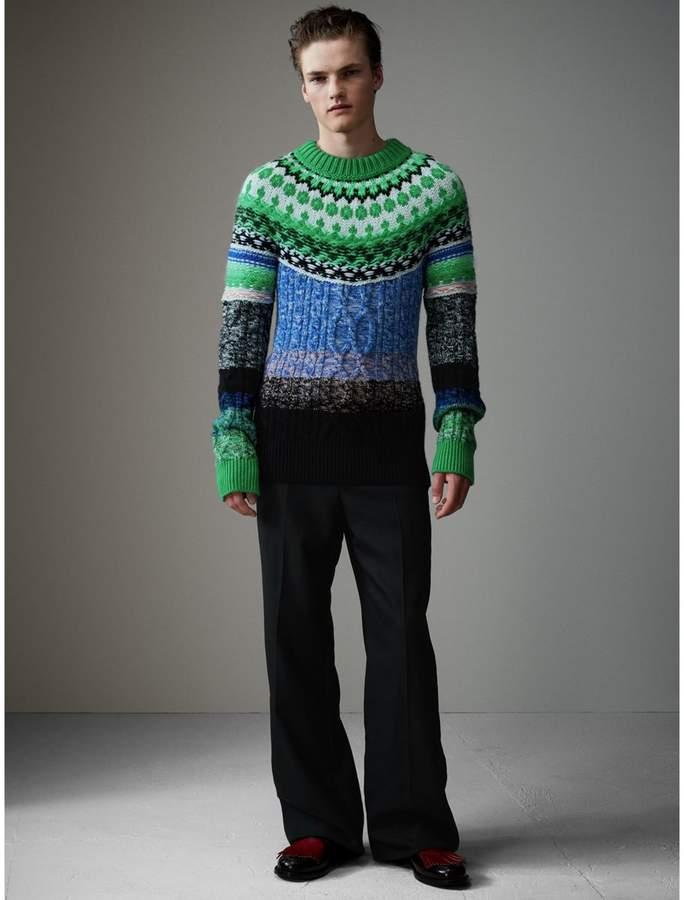 Burberry Multi-knit Cashmere Wool Mohair Mouliné Sweater