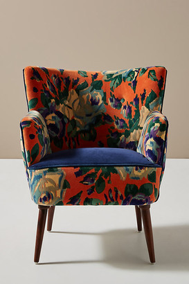 Anthropologie Velvet Tanya Petite Accent Chair By in Orange