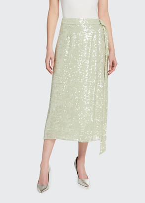 Sally LaPointe Sequined Viscose Belted Wrap Skirt