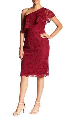 Nanette Lepore NANETTE One Shoulder Lace Sheath Dress