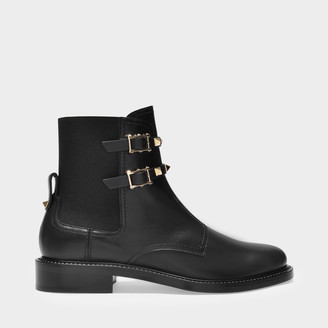 Valentino Ankle Boots Rockstud In Black Leather