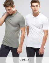 Asos 2 Pack Extreme Muscle Polo Shirt In White/Green