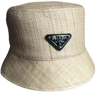 Prada Beige Wicker Hats