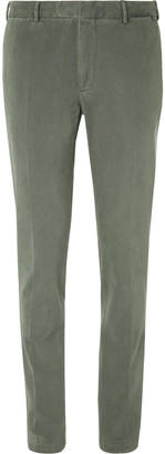 Boglioli Grey-Green Slim-Fit Cotton-Blend Gabardine Suit Trousers