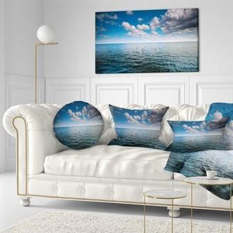 East Urban Home Cloudy Blue Sky Above Sea Surface Oversized Beach Lumbar Pillow