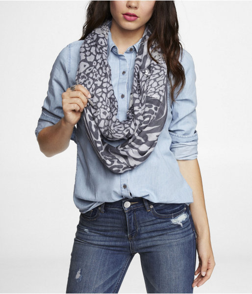 Express Foiled Mixed Animal Print Infinity Scarf
