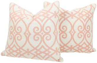 One Kings Lane Vintage Pink & Ivory Linen Trellis Pillows - Set of 2 - Ivy and Vine - pink/ivory