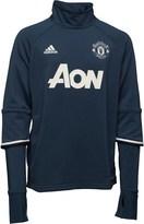 adidas Junior MUFC Manchester United 3 Stripe Long Sleeve Mock Neck Training Top Blue