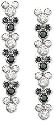 Disney Black Spinel & Cubic Zirconia Mickey Mouse Drop Earrings in Sterling Silver