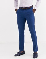 Asos DESIGN wedding skinny suit pants in blue marl cotton and linen blend