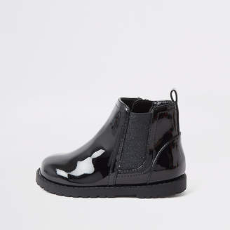 River Island Mini girls black patent boots