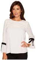 CeCe 3/4 Tie Bell Sleeve Textured Blouse Women's Blouse
