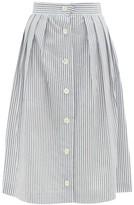Giuliva Heritage Collection The Giovanna Jacquard-stripe Cotton Skirt - Womens - White Stripe
