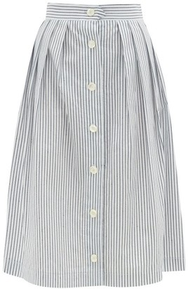 Giuliva Heritage Collection The Giovanna Jacquard-stripe Cotton Skirt - White Stripe
