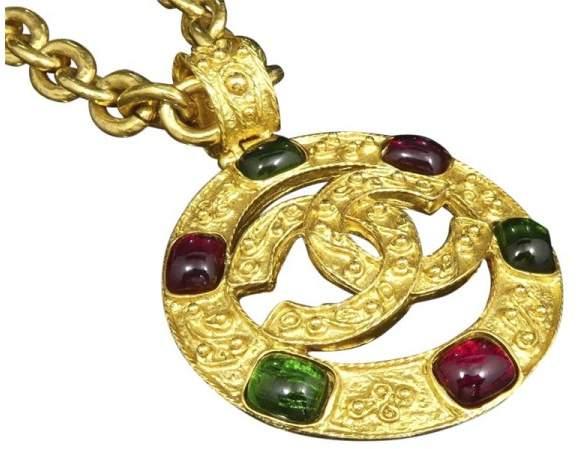 Chanel Coco Mark Gold-Tone Colored Stones Chain Pendant Necklace