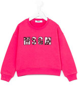 MSGM beaded logo sweatshirt - kids - Cotton - 4 yrs