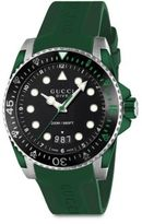 Gucci Dive Stainless Steel & Green Rubber Strap Watch