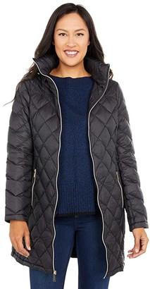 MICHAEL Michael Kors 3/4 Zip Front Packable Down M821754BNM (Black) Women's Clothing