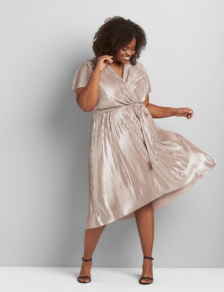 Lane Bryant Pleated Metallic High-Low Midi Dress