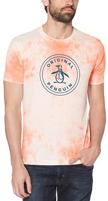 Original Penguin Tie-Dye Stamped Circle Pete Short Sleeve Tee Shirt (Deep Water) Men's Clothing