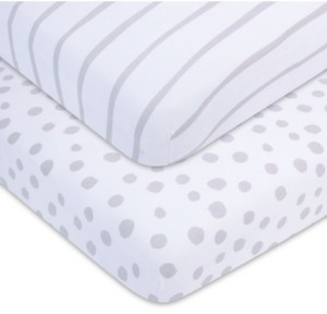 Adrienne Vittadini Bambini Jersey Cotton Standard Crib Sheets, 2 Pack