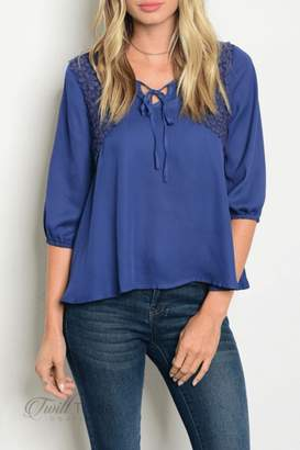 Love Letter Navy Peasant Top